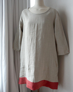 [LINEN by G] RED POINT DRESS