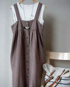 [LINEN by G] BUTTON  DRESS